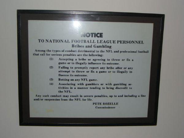 Item Detail Nfl No Gambling Official Locker Room Sign