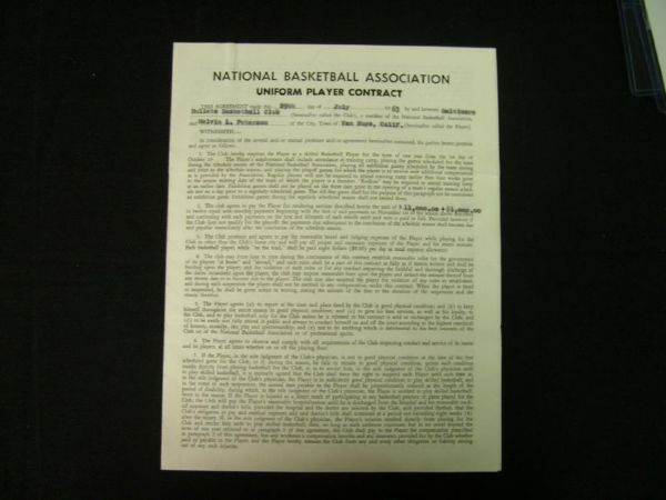Mel peterson 1963 nba baltimore bullets signed players contract