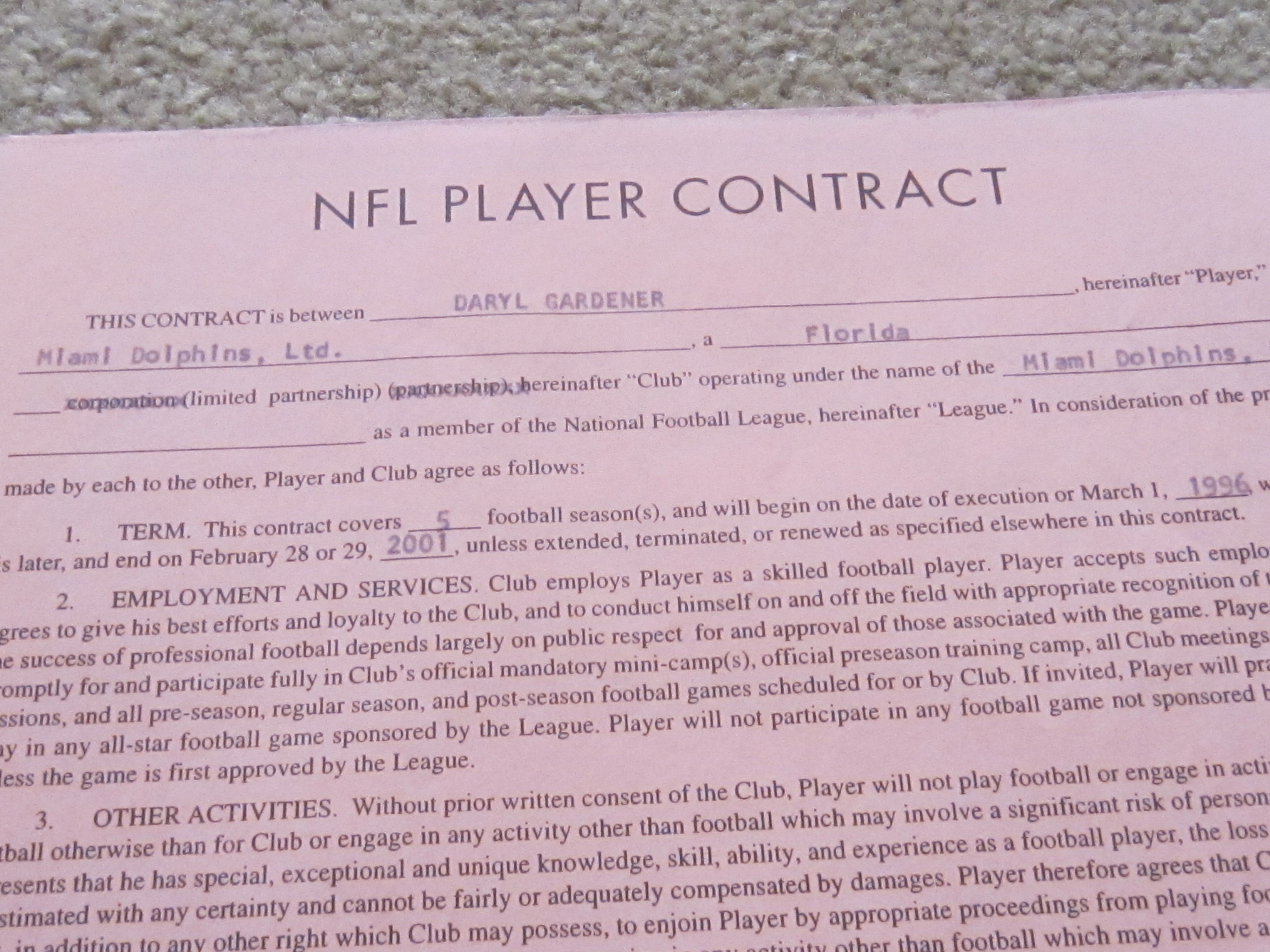 Item detail daryl gardener signed rookie nfl miami dolphins contract