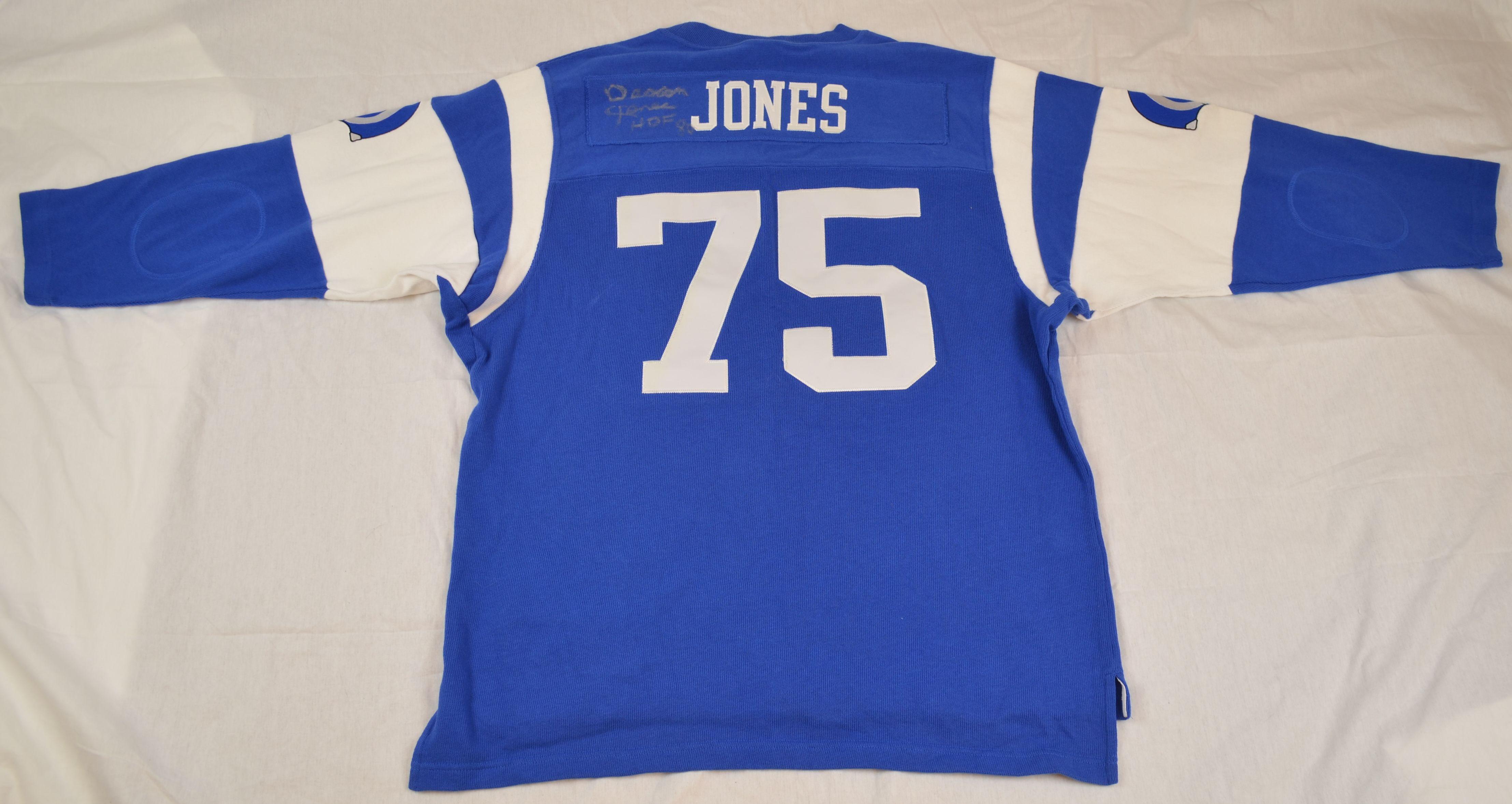 6f92716c886 Lot Detail - Deacon Jones L.A. Rams Blue NFL Throwback Jersey ...