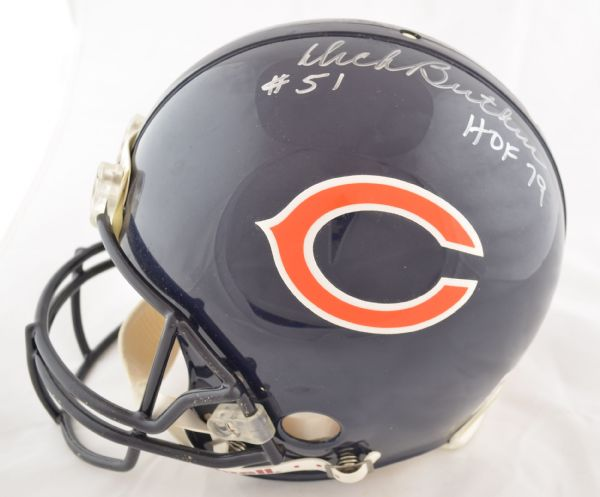 """9c34e1cdf5a Lot Detail - Walter Payton Signed Chicago Bears Full Sized """"Authentic"""" Football  Helmet + 2 HOFers"""