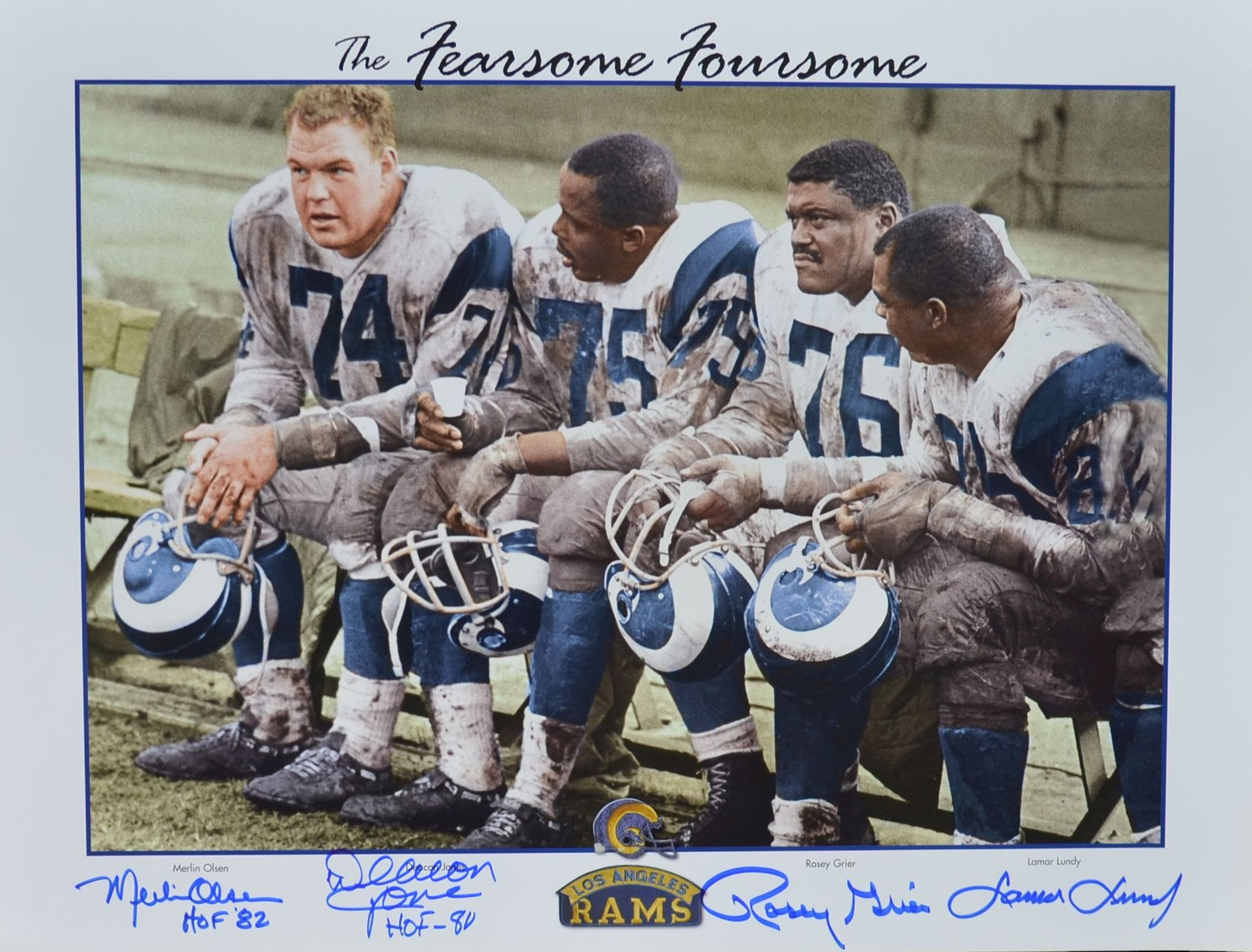 fbc0e05ef Los Angeles Rams Signed by All Four (4) Fearsome Foursome Lithograph