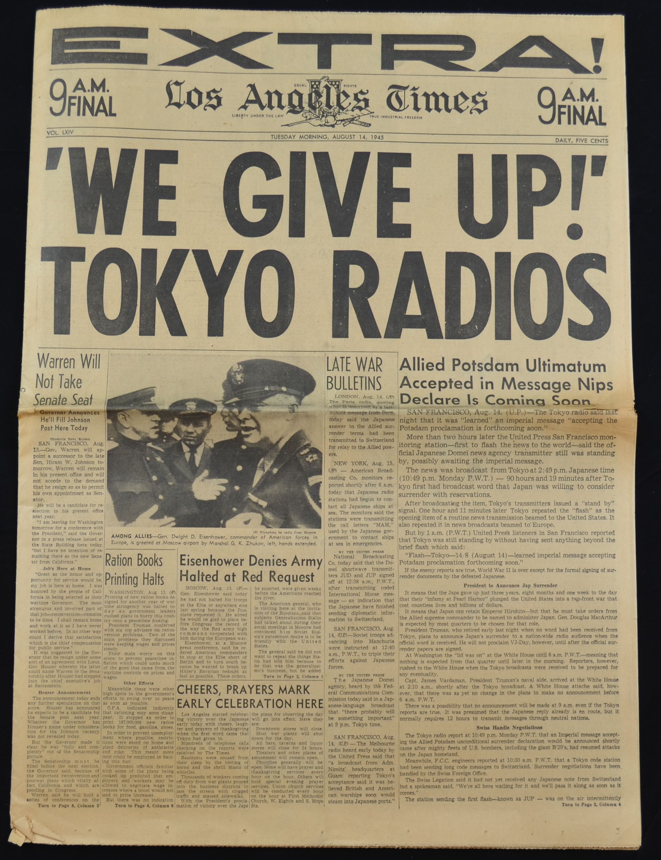 Lot Detail - Lot of 6 Original Historical Newspapers - WWII Truman FDR