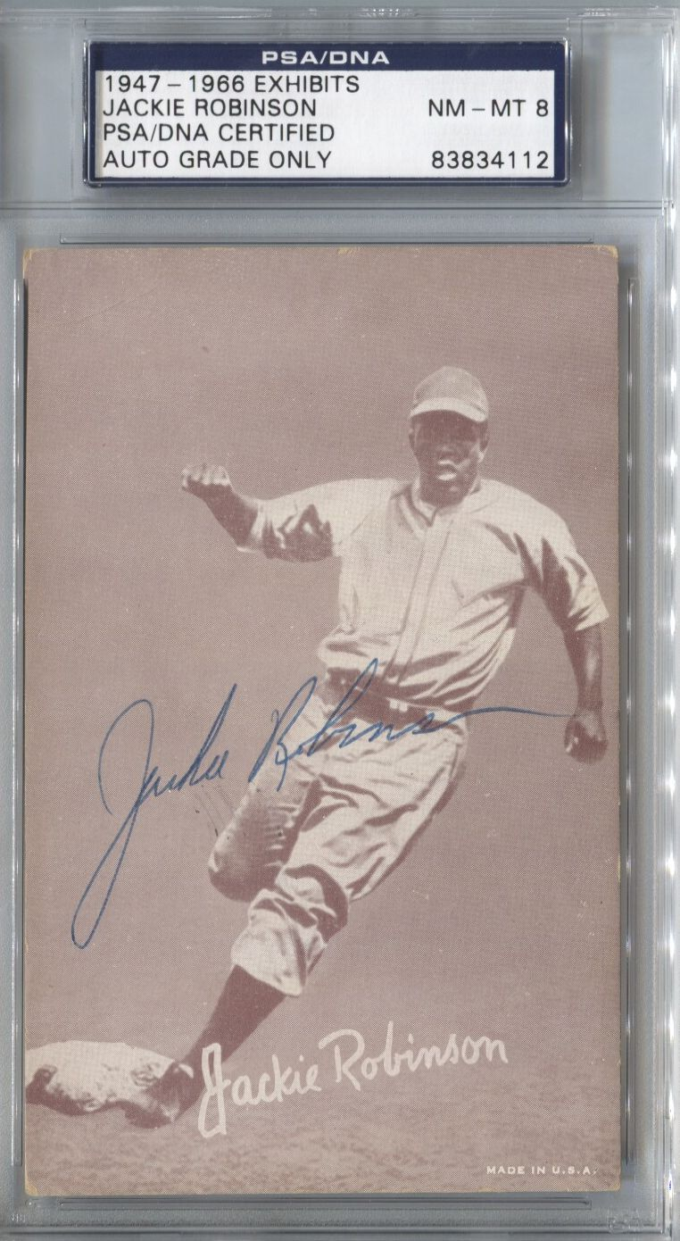 Lot Detail Jackie Robinson 1947 66 Exhibit Card Autographed Signed