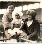 1922 Babe Ruth Yankees with his family at the 1922 World Series Original Photo