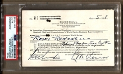 1938 World Series Press Pass Signed by Kennesaw Landis & Leslie O'Connor PSA/DNA