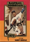 1980 Baseball Immortals card Sandy Koufax Signed AUTO